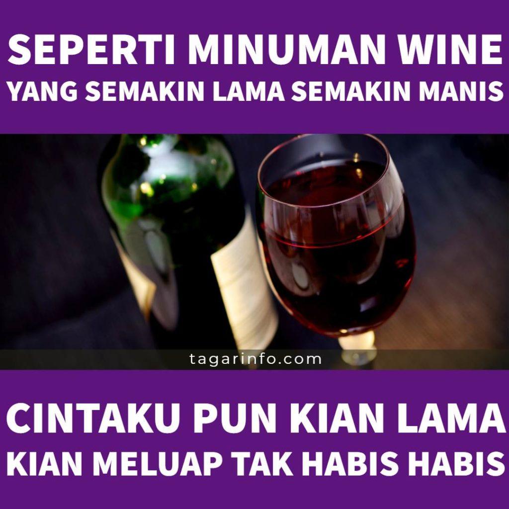 kata kata cinta lucu: Seperti minuman wine yang semakin lama semakin manis, cintaku pun kian lama kian meluap tak habis habis.