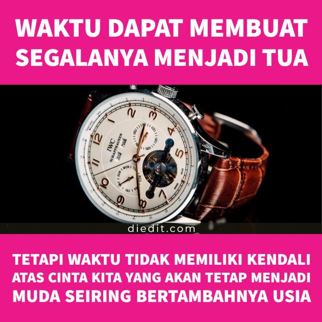 kata kata indah kebersamaan suami istri: Waktu dapat membuat segalanya menjadi tua. Tetapi, waktu tidak memiliki kendali atas cinta kita yang akan tetap menjadi muda meskipun usia terus bertambah.