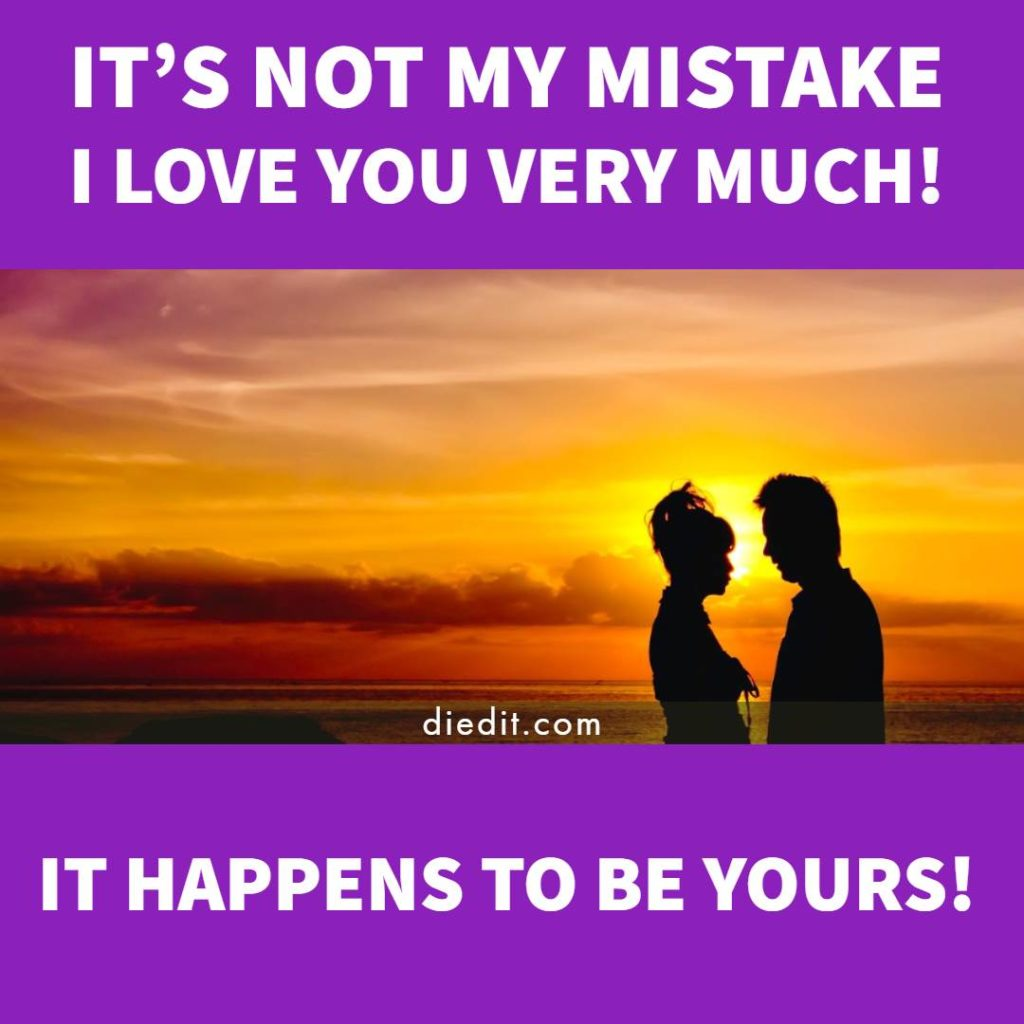 kata kata indah bahasa Inggris: It's not my mistake I Love You very much! It happens to be yours!