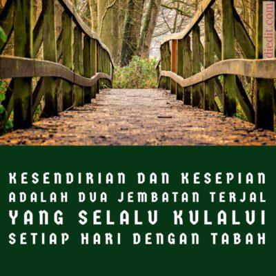 kata kata sedih - Kesendirian dan kesepian adalah dua jembatan terjal yang setiap hari kujalani.